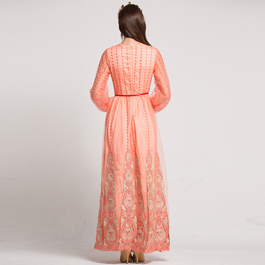 Luxury Lantern Sleeve Patchwork Dot Floral Embroidery Sashes Mesh Long Dress