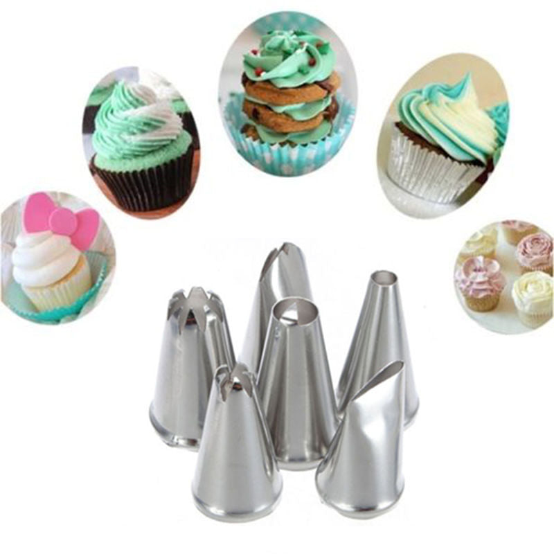 Stainless Steel Piping Nozzles Pastry Baking 6Pcs/Set