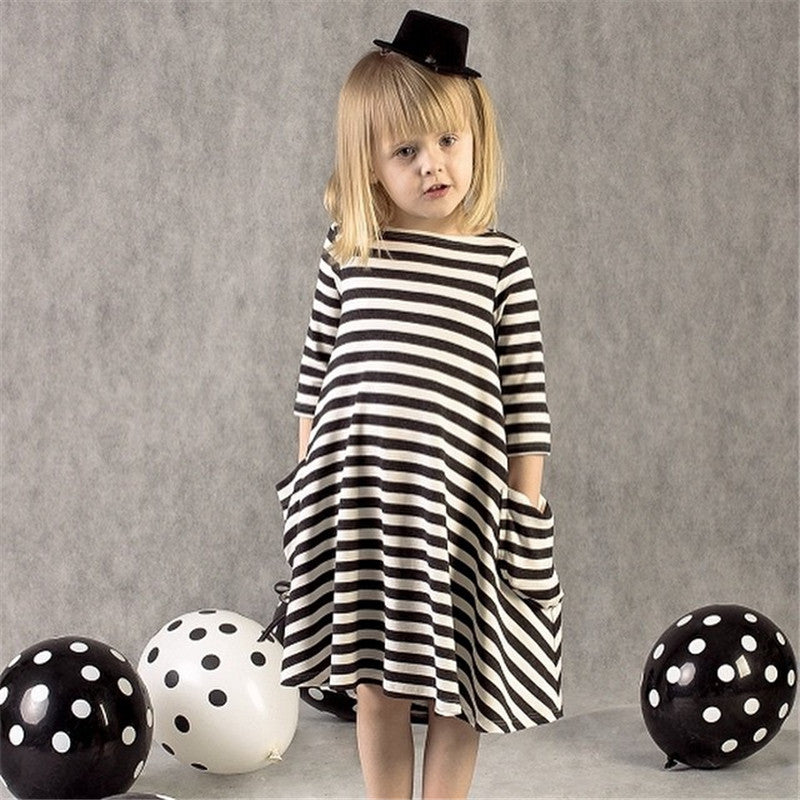 Casual Loose Striped Long Sleeve Mother Daughter Dress