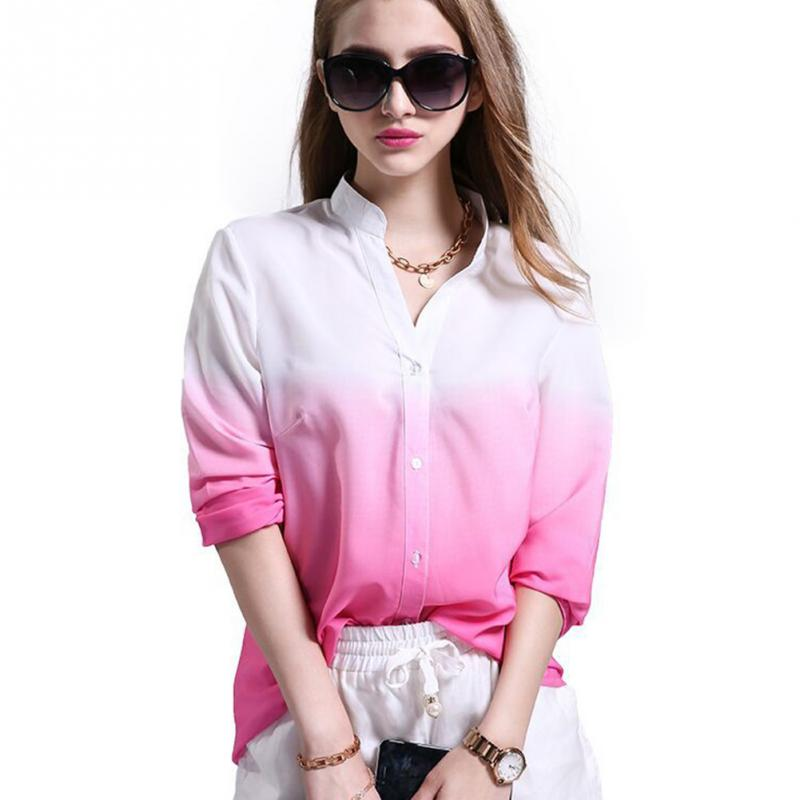 Casual V-Neck Gradual Change Long Sleeve Loose Blouse