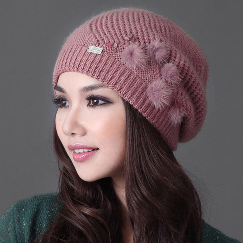 Warm Rushed Solid Wool Leisure Flowers Sheep Knitted Hat