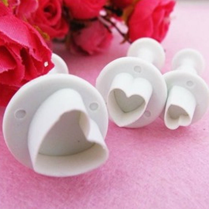 Set Love Heart Plunger Cutter Mold