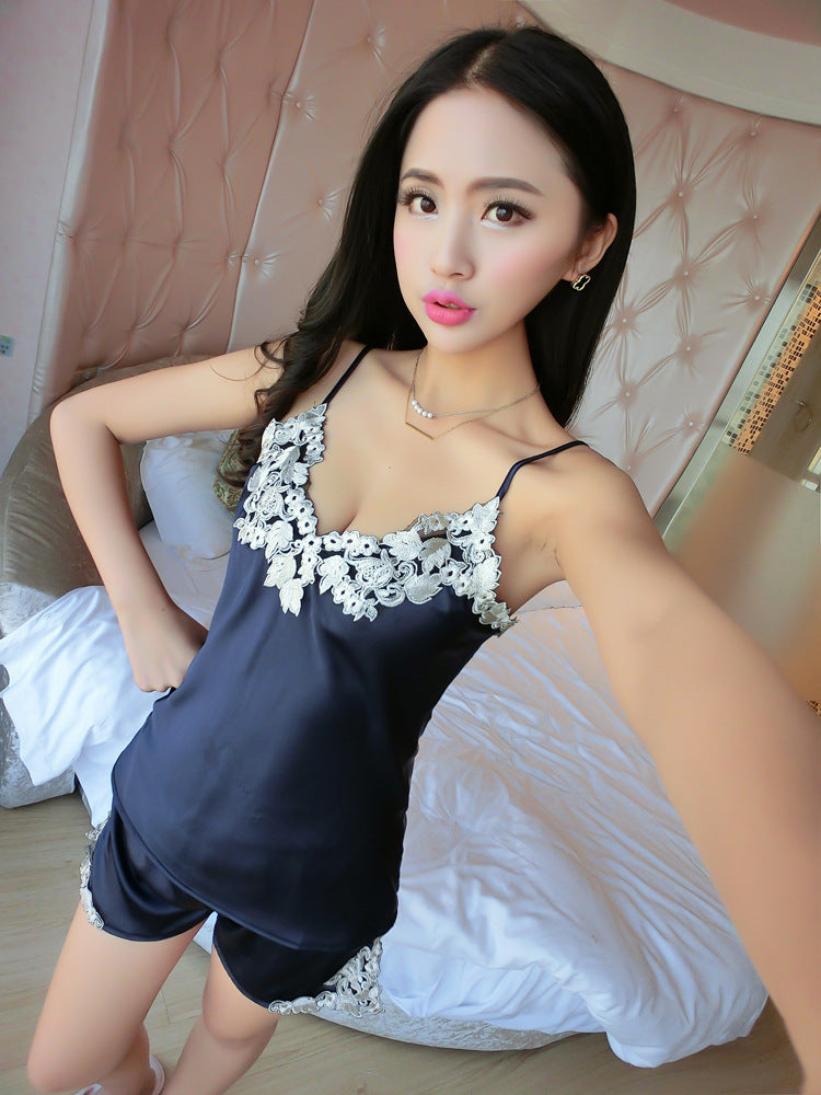 Sexy Sleeveless V-Neck Lace Silk Satin Pajama Set