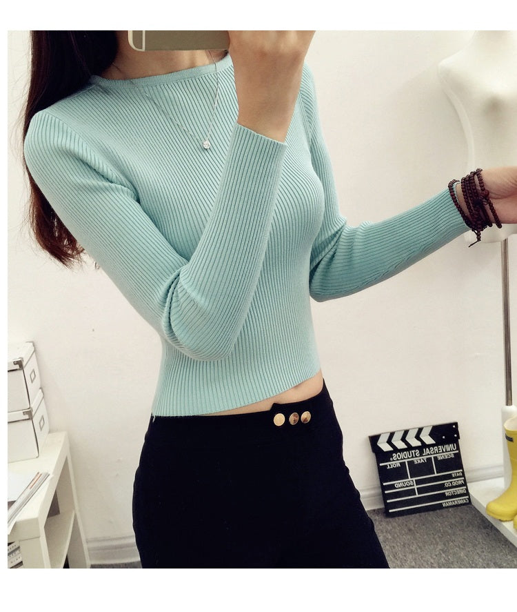 Slim Fit O-Neck Long Sleeve Knitted Cropped Tops