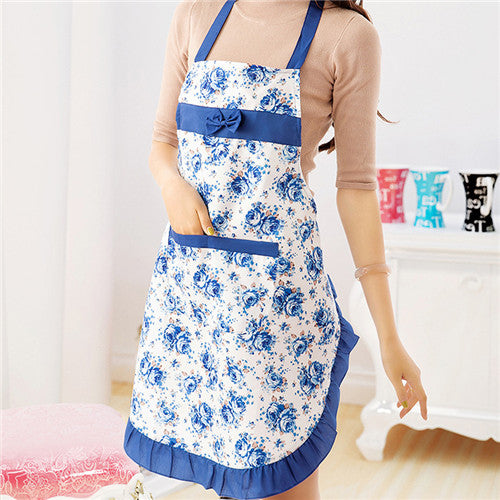 Cooking Aprons With Pocket Bow Rose Print