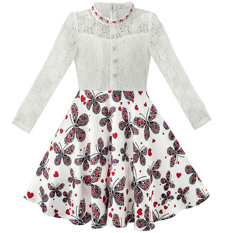 Elegant 7-14 Yrs A-Line Lace Pearl Plum Blossom Princess Dress