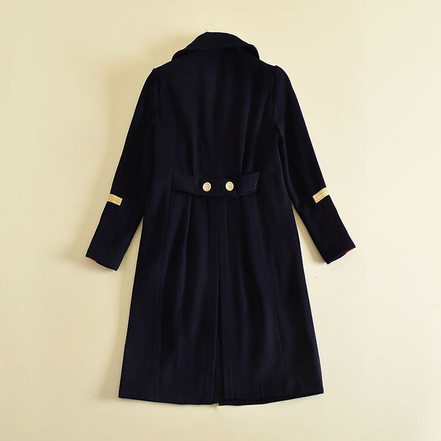 Elegant Patchwork Brief Patch Turn Down Collar Navy Over Long Coat