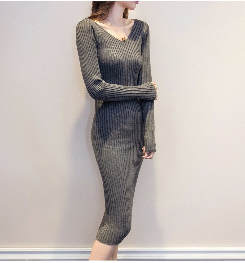 V-Neck Long Sleeve Knitted Dress