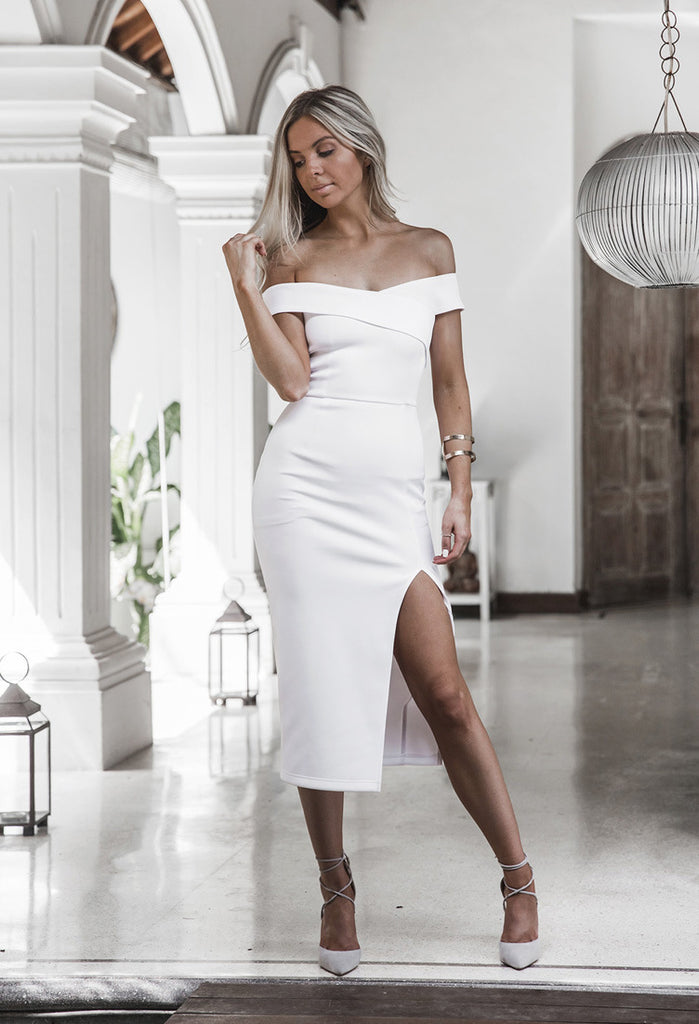 Sexy Off Shoulder Split Open Fork Hanging Arm Party Dress