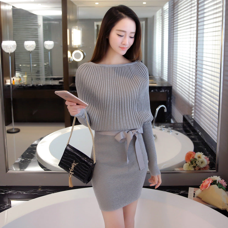 Knitted Batwing Sleeve Sexy Sweater Dress
