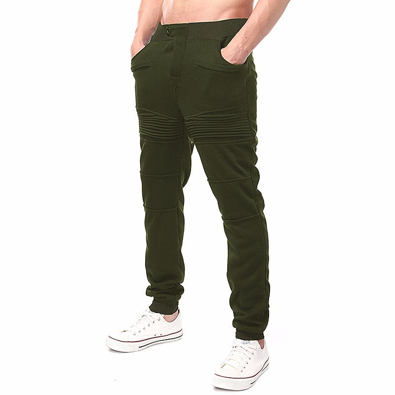Casual Elastic Waist Pleated Solid Pockets Long Sweatpant