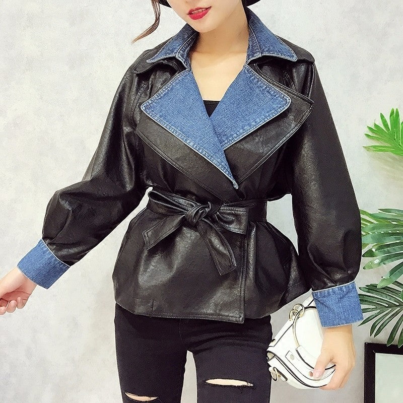 Elegant Tunic Lace Up PU Leather Short Jacket With Belt