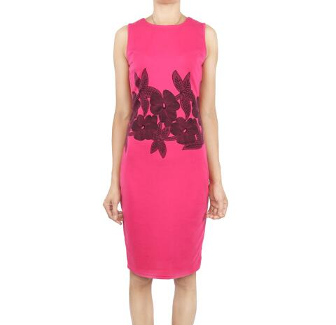 Bodycon Floral Printed Sleeveless With Sashes Cocktail Pencil Dress