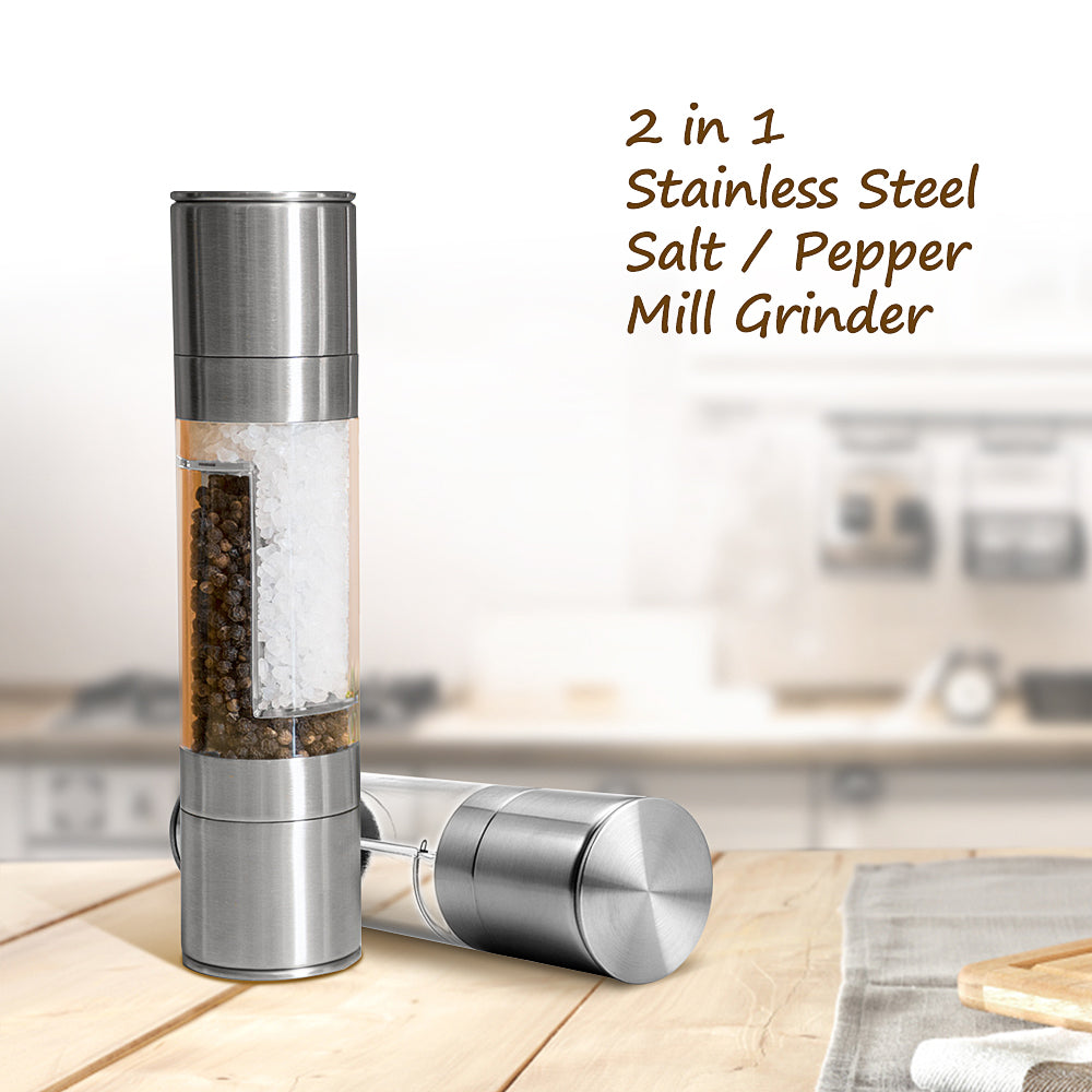 2 in 1 Stainless Steel Manual Salt Pepper Mill Grinder Seasoning Cooking Tools