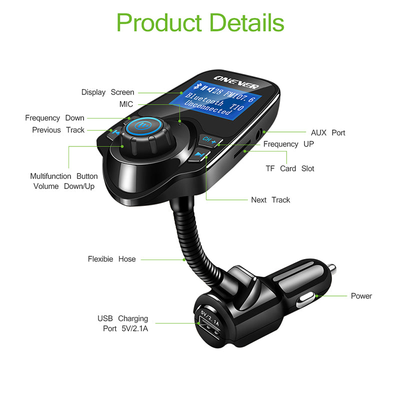 Wireless FM Transmitter MP3 Player Bluetooth Car Kit Handsfree Set USB Car Charger