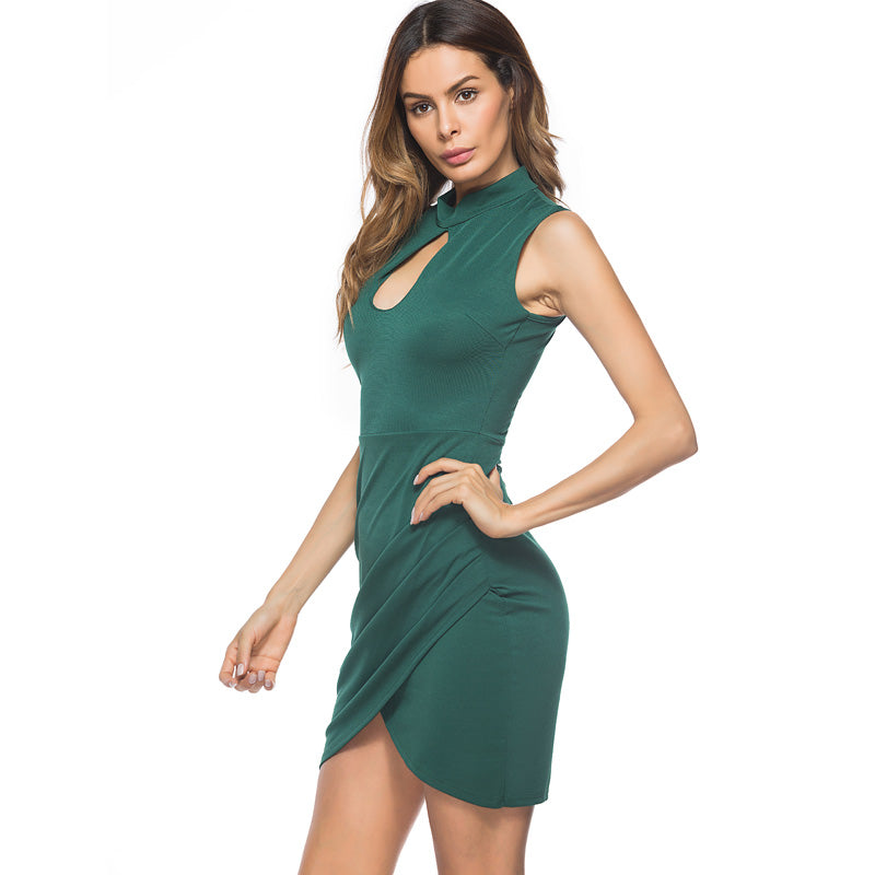 Elegant Asymmetrical Sheath Sleeveless Ruched Bodycon Dress