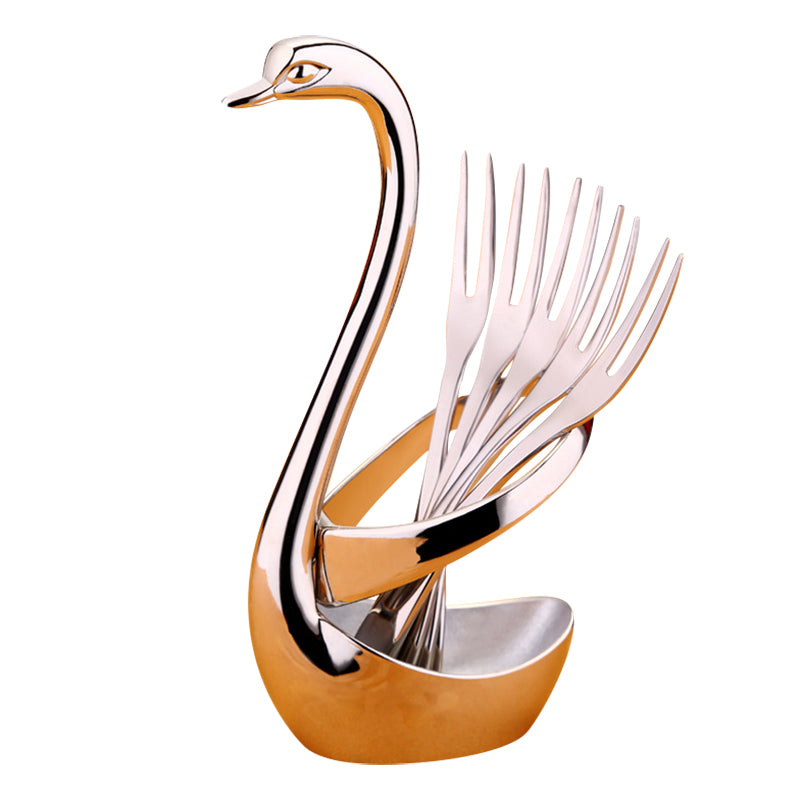 5pcs Stainless Steel Dessert Fruit Forks Swan