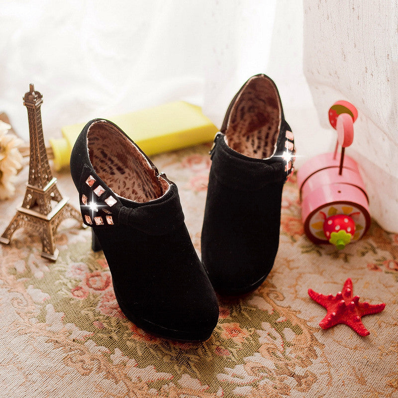 Round Toe Suede Spike High Heels Solid Ankle Bootie With Bow Glitter