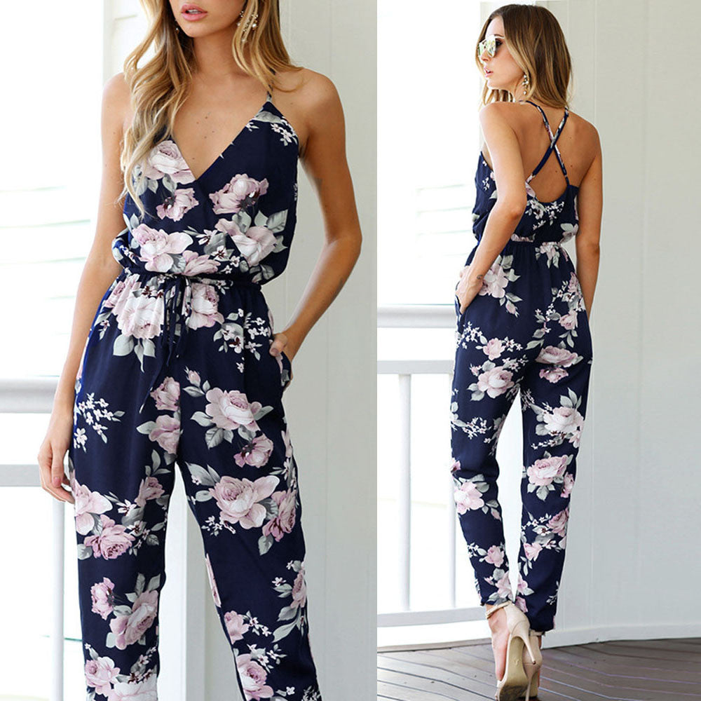 Bohemian Backless Sleeveless Floral Printed Loose Jumpsuit