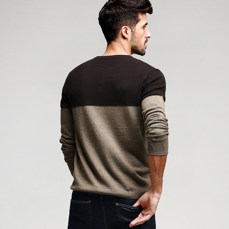Casual Slim Fit Patchwork Khaki Knitted Pullover