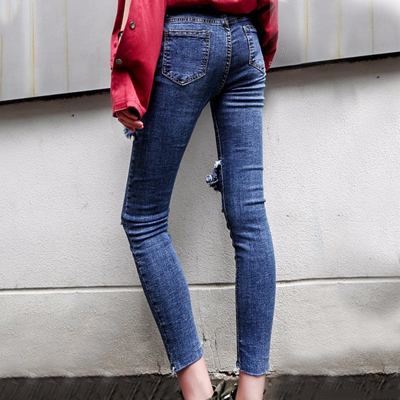 Skinny Coated Ripper Hole Denim Pencil Ankle Length Jeans