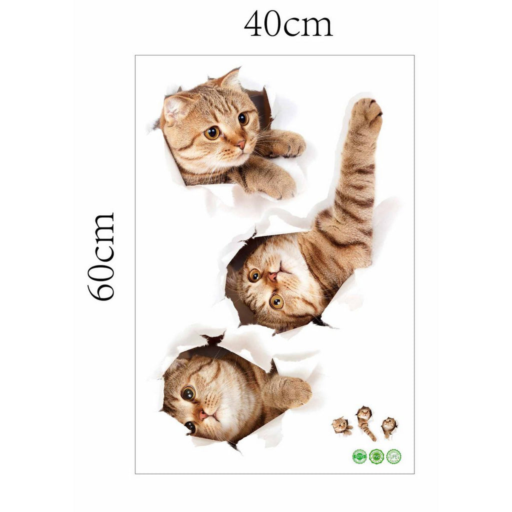 Cute 3D Vinyl Kitten Cat Wall Sticker Home Art Decoration
