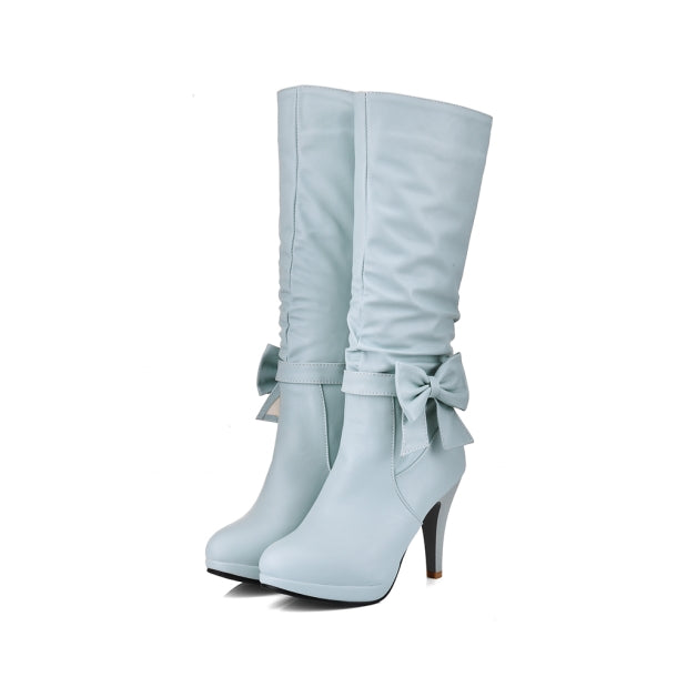 Butterfly-knot Spike Heels Round Toe Knee Length Boots