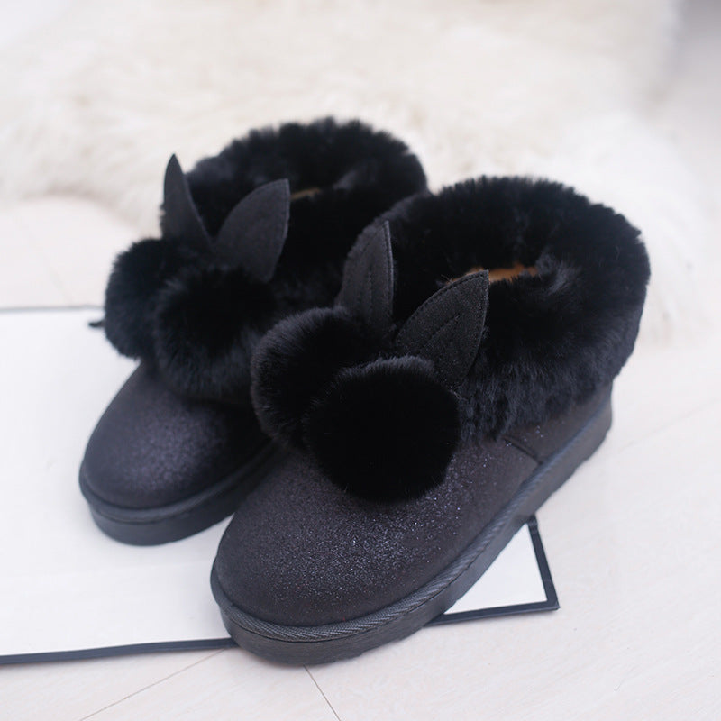 Lovely Super Warm Sweet Rabbit Ear Velvet With Thick Snow Women Boots