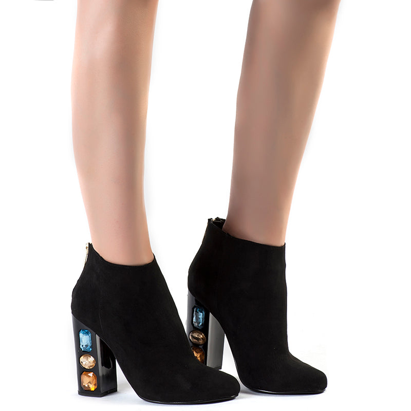 Classic Crystal Rhinestone Square High Heel Ankle Women Boots