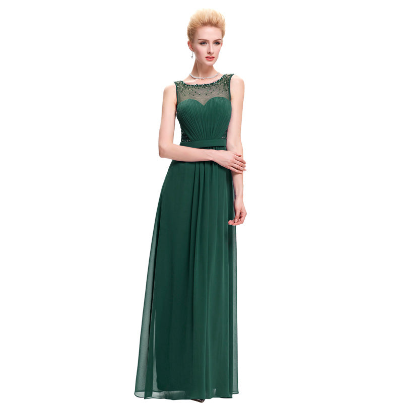 Elegant A-Line Backless Draped Pleated Evening Dress With Belt