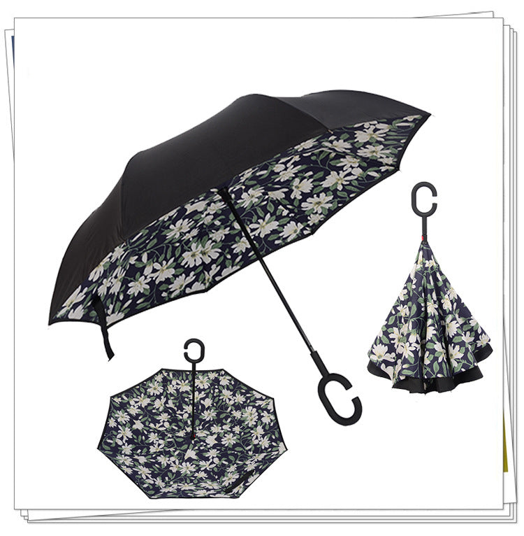 Amazing Windproof Reverse Folding Double Layer Inverted Umbrella