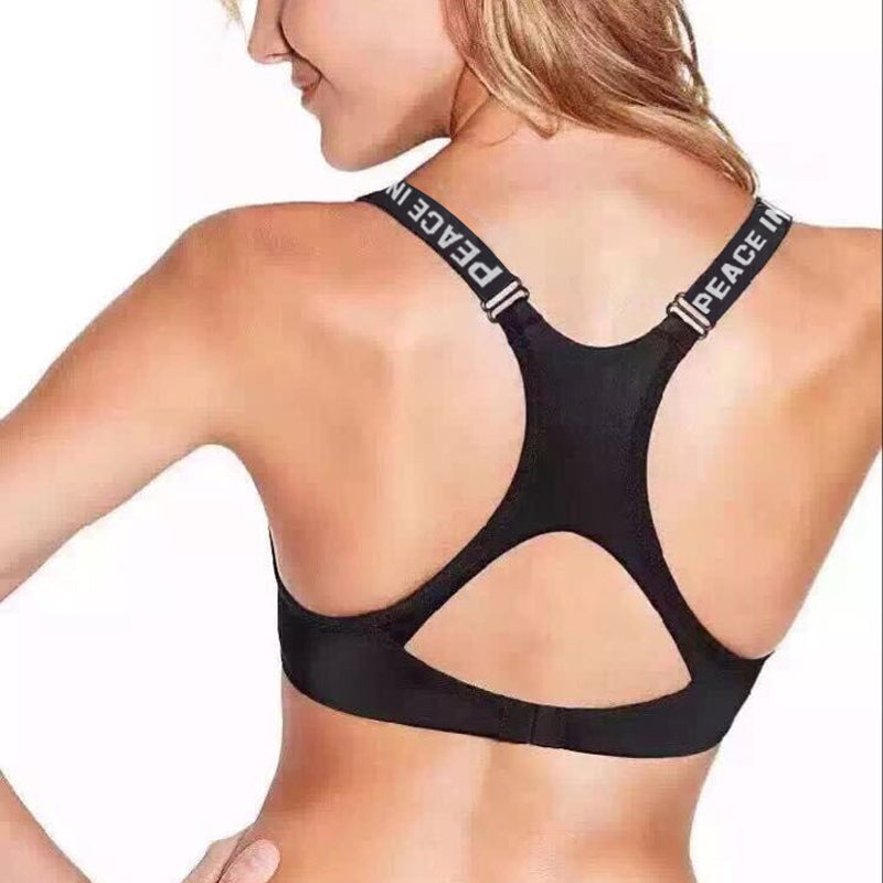 Cool PEACE IN LOVE Push-Up Fitness Bra and Brief Set