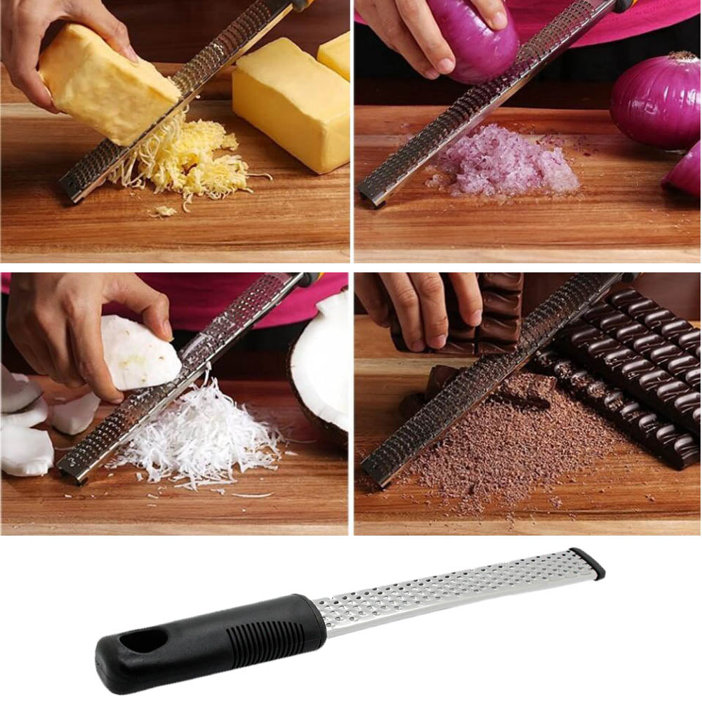 Stainless Steel Lemon Zester, Cheese and Spice Grater With Non-slip Handle