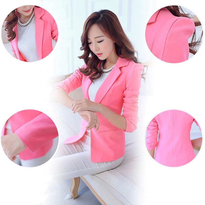 Casual Long Sleeve Notched Collar Solid Women Blazer