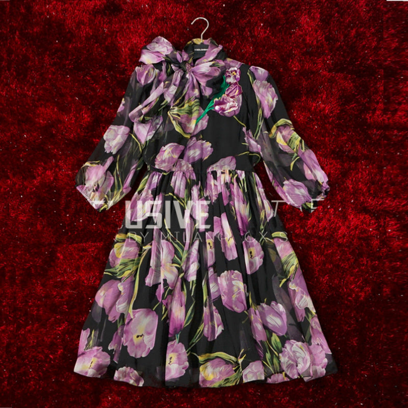 Cute Embroidery Half Lantern Sleeve Tulip Bow Ball Gown Dress