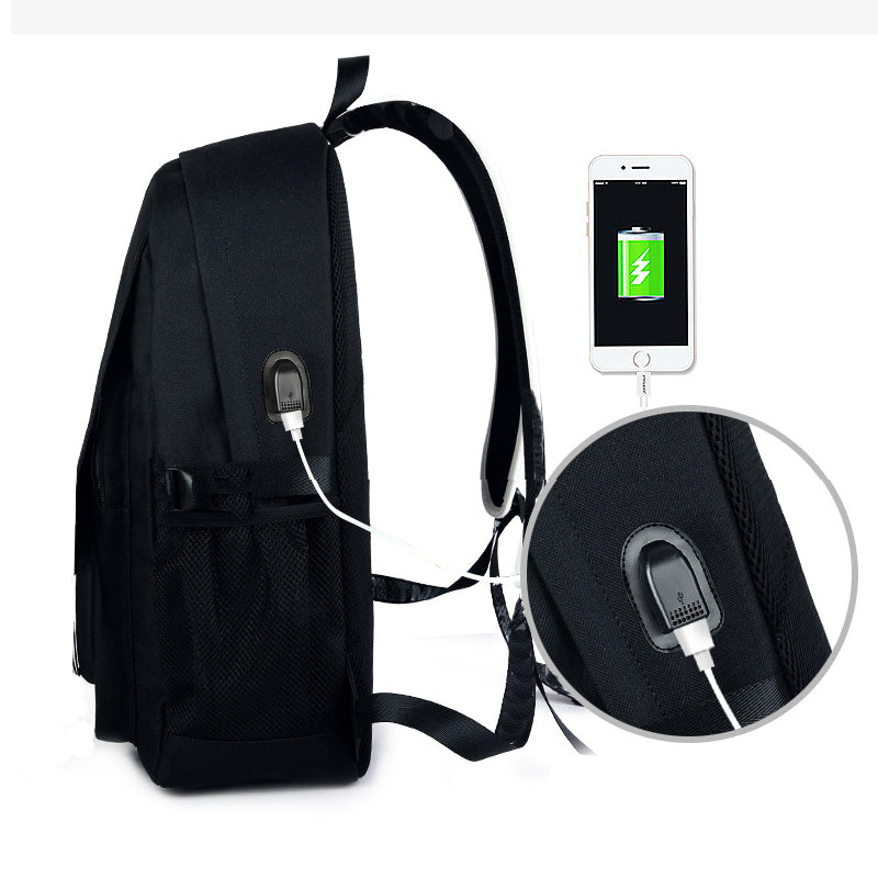 Cool Anti-Theft Animation Cartoon Luminous USB Charge Back Bag