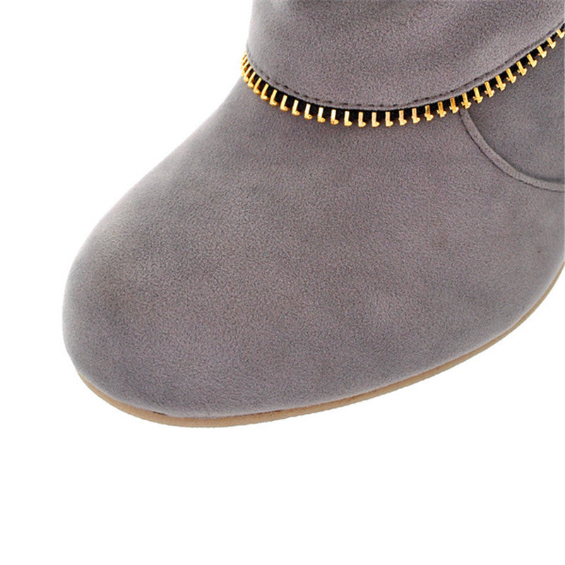 Comfortable Round Toe Breathable Warm Velvet High-Heeled Boot