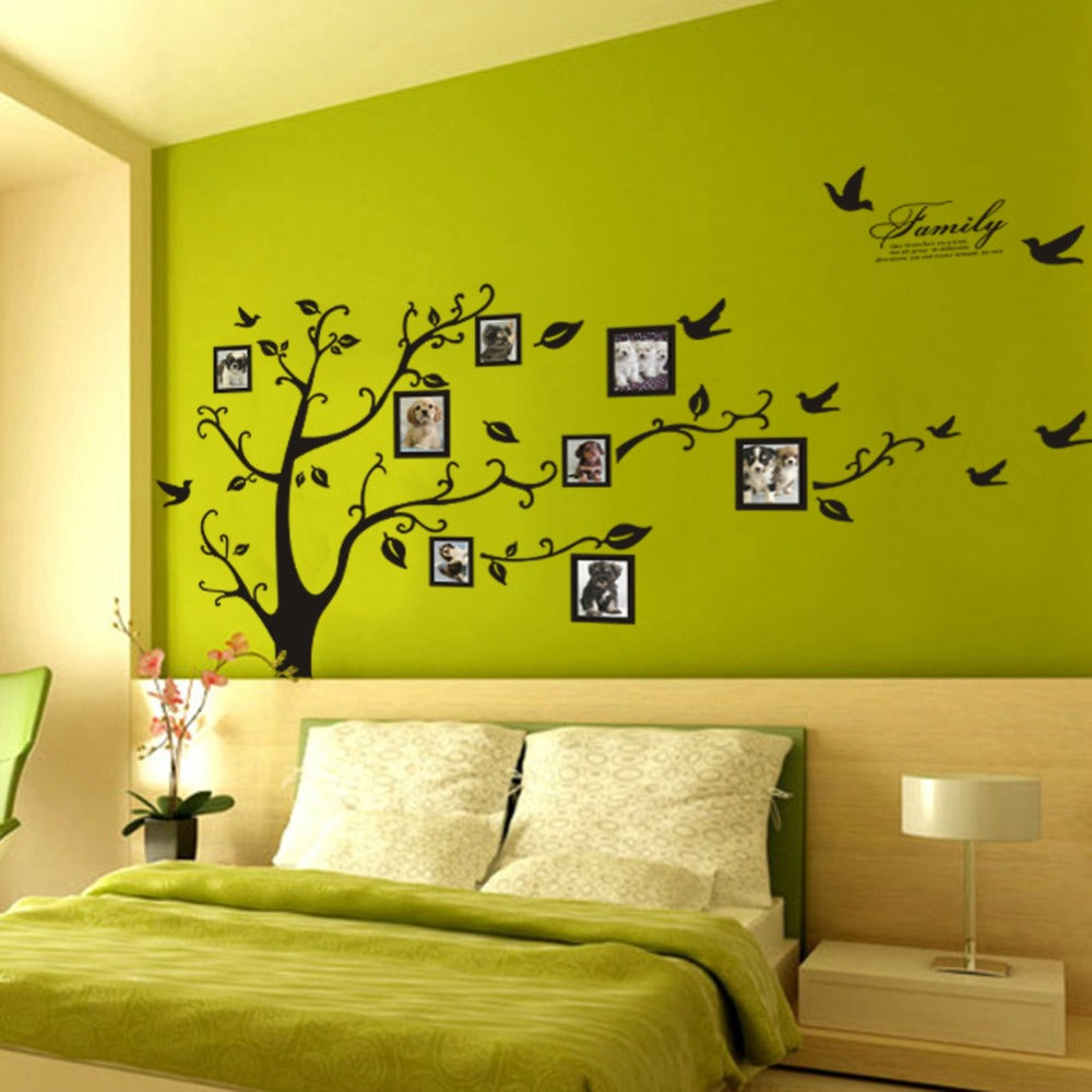 3D DYI Large Black Family Photo Tree PVC Wall Stickers