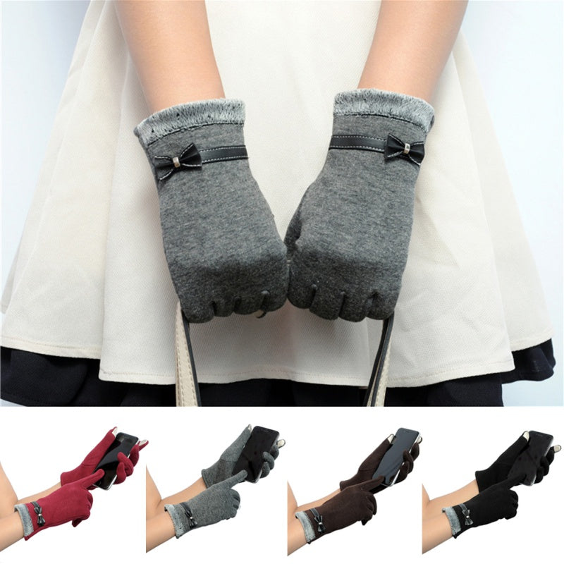 Cute Bowknot Click Feel Screen Knitted Women Gloves