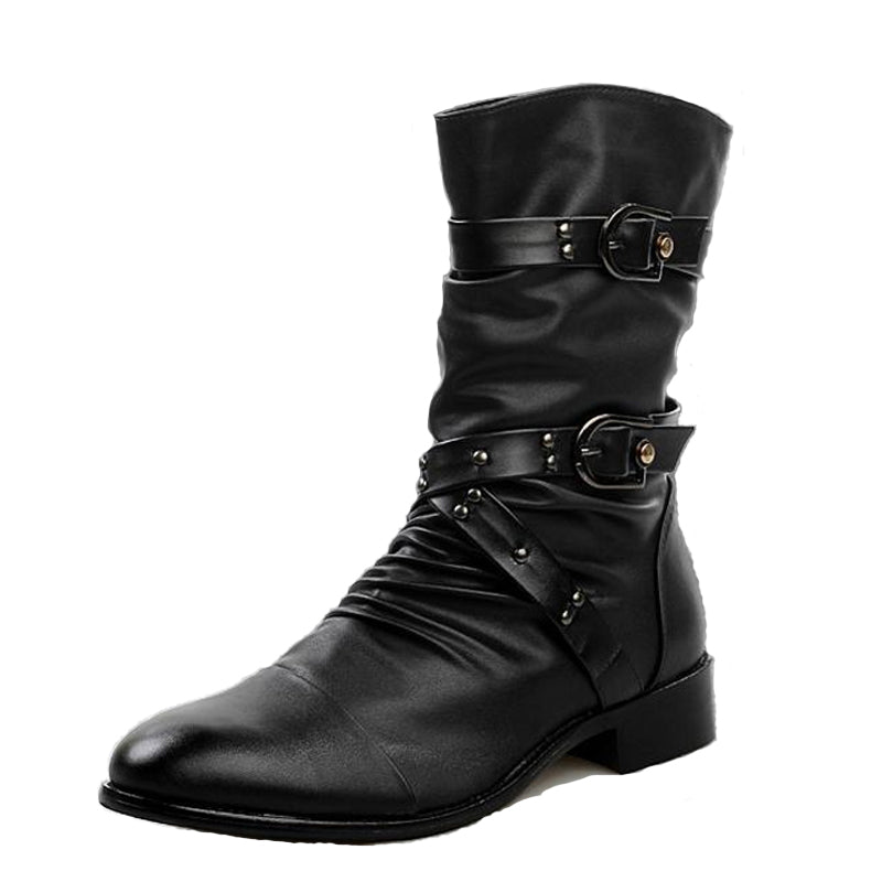 Low Heels Pu Leather Rivet Mid-Calf Men Martin Boots