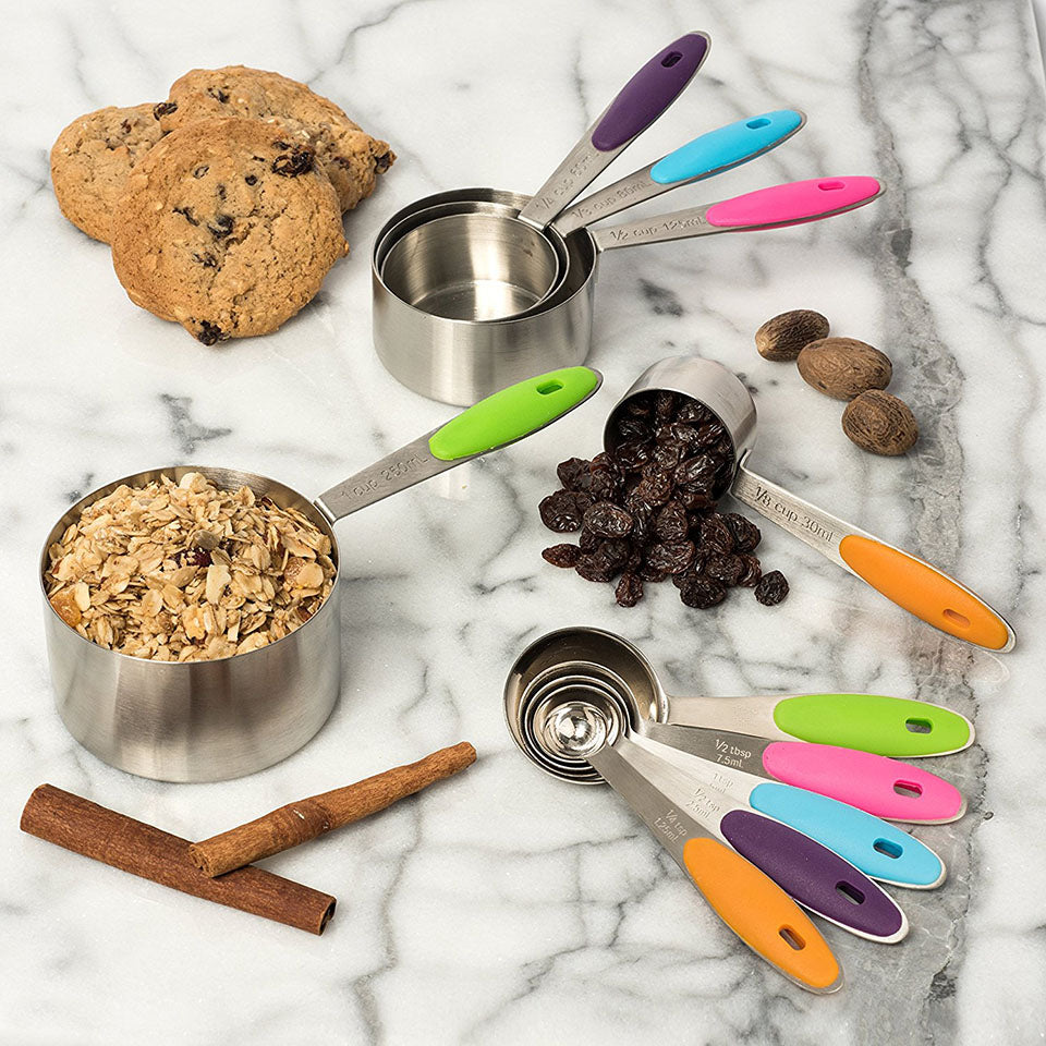 10 Pcs Professional Grade Stainless Steel Measuring Cups & Spoons