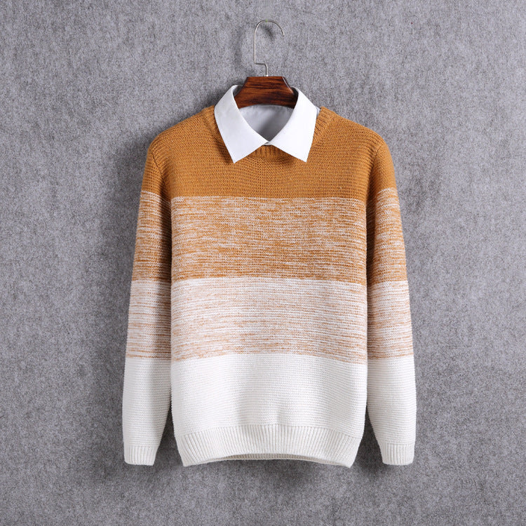 Luxury mens knitted Sweater O-neck Patchwork Striped Thick Mens Sweaters