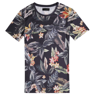 Casual Digital Printing O-Neck Short Sleeve Cotton Men T-shirt