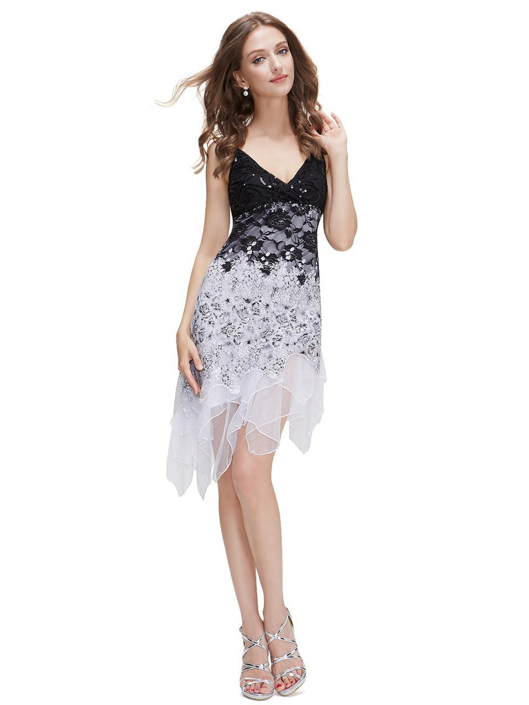 A-Line Sequined Fancy Flowing Lace Mini Cocktail Dress