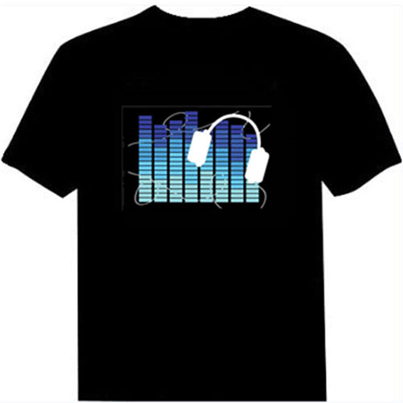 Funny Light Up & Down Sound Activated Led Cotton T-Shirt