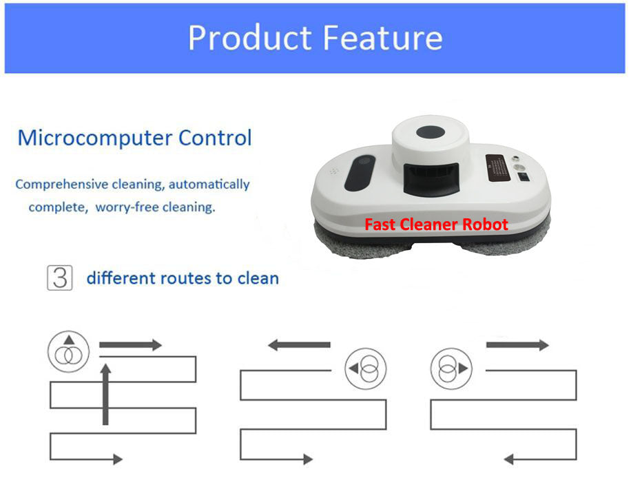 Auto Anti-Falling Smart Window Glass Cleaner Control Robot Vacuum Cleaner