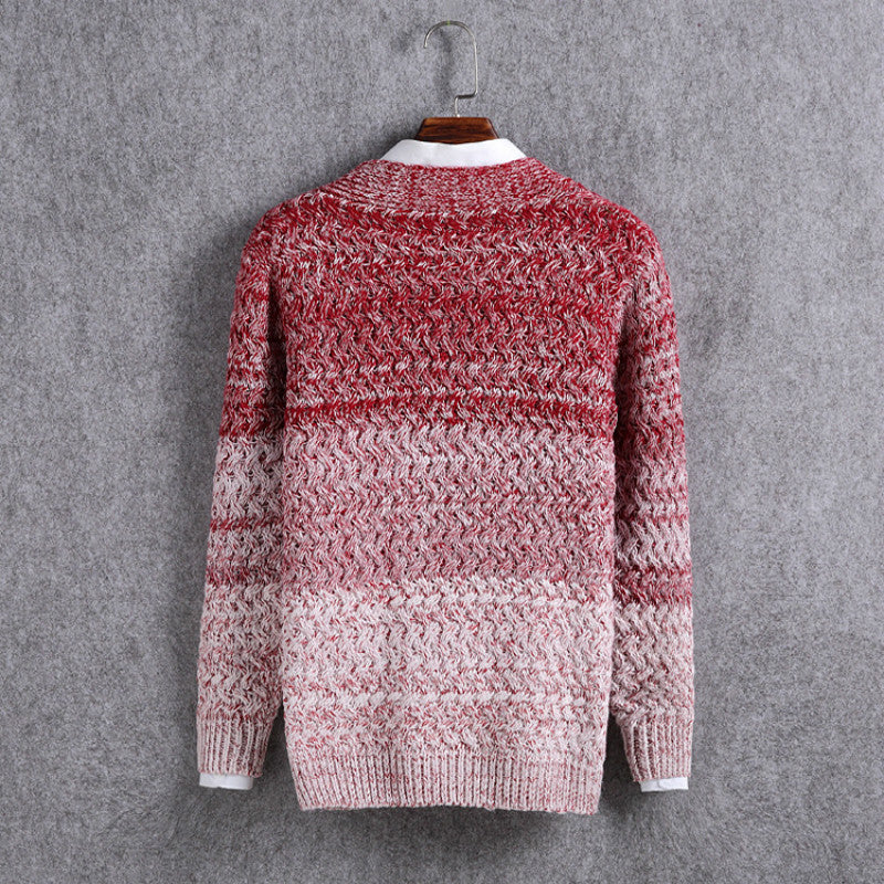 Gradient Color Long Sleeve Men's Knit Sweater