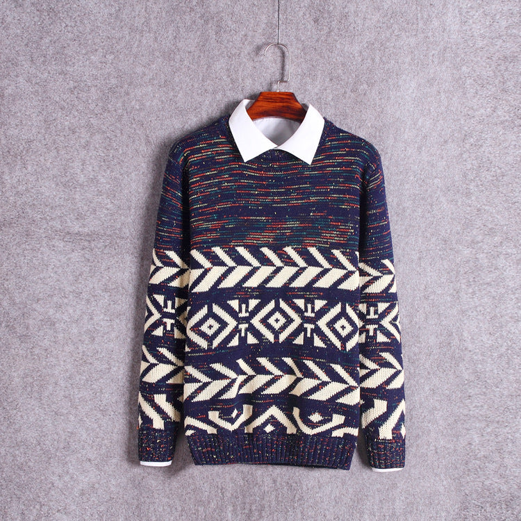 O-Neck Slim Sweaters Knitted Jacquard Coarse Lines