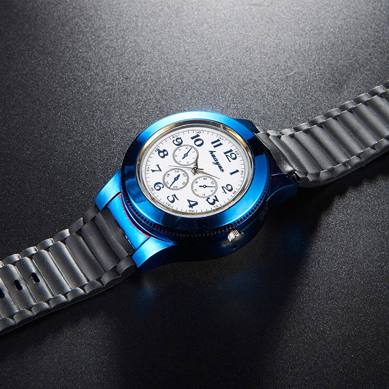 Windproof Flameless Cigarette USB Lighter Men's Wristwatch