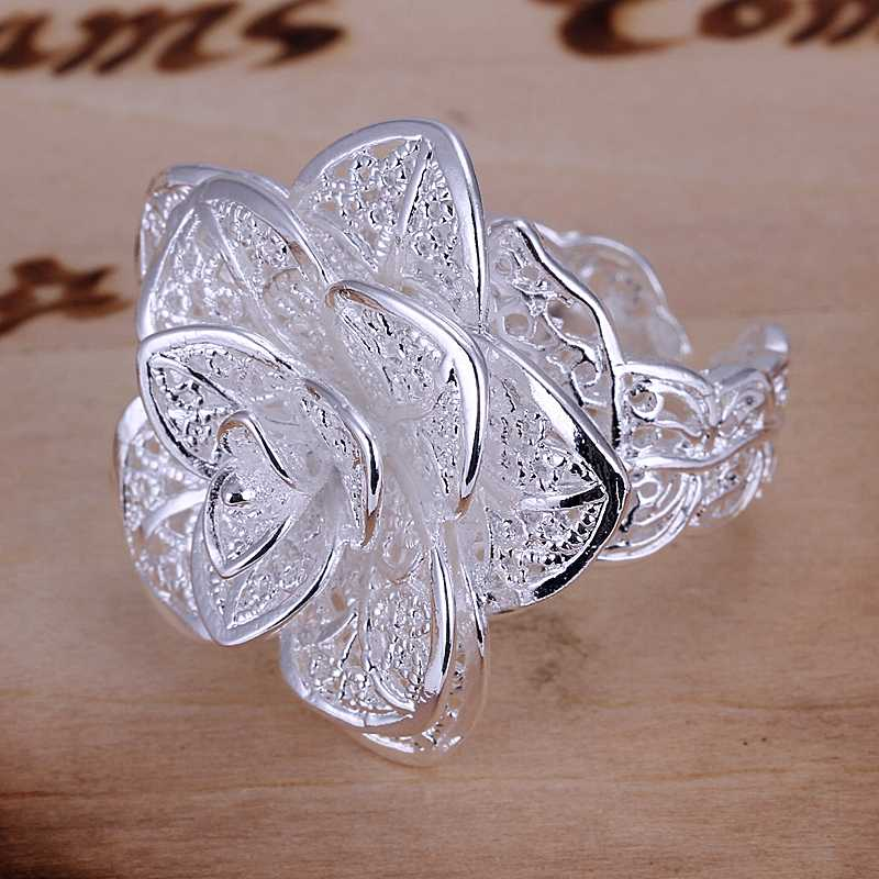 Romantic Three Flower Anel 925 Stamp Silver Plated Rings